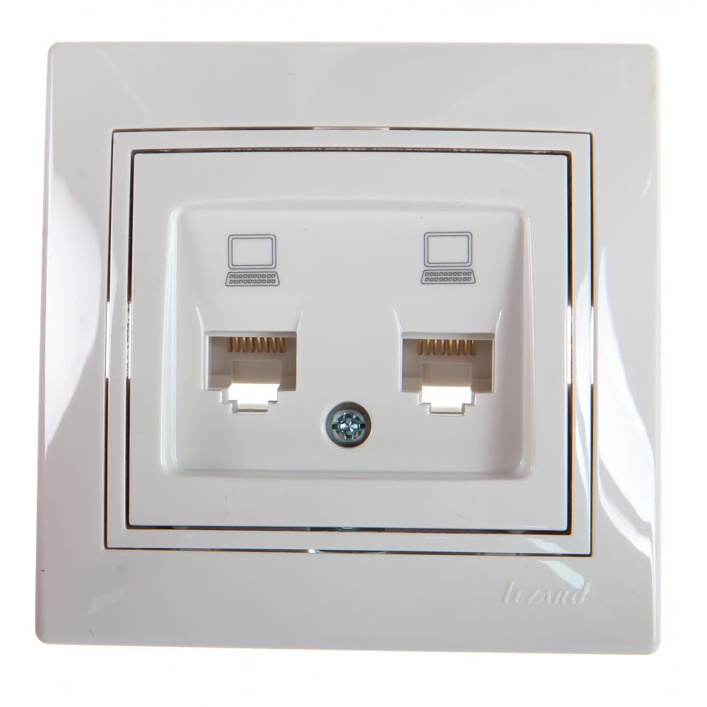 Двойная компьютерная розетка lezard mira белый с белой вставкой 701-0202-141.