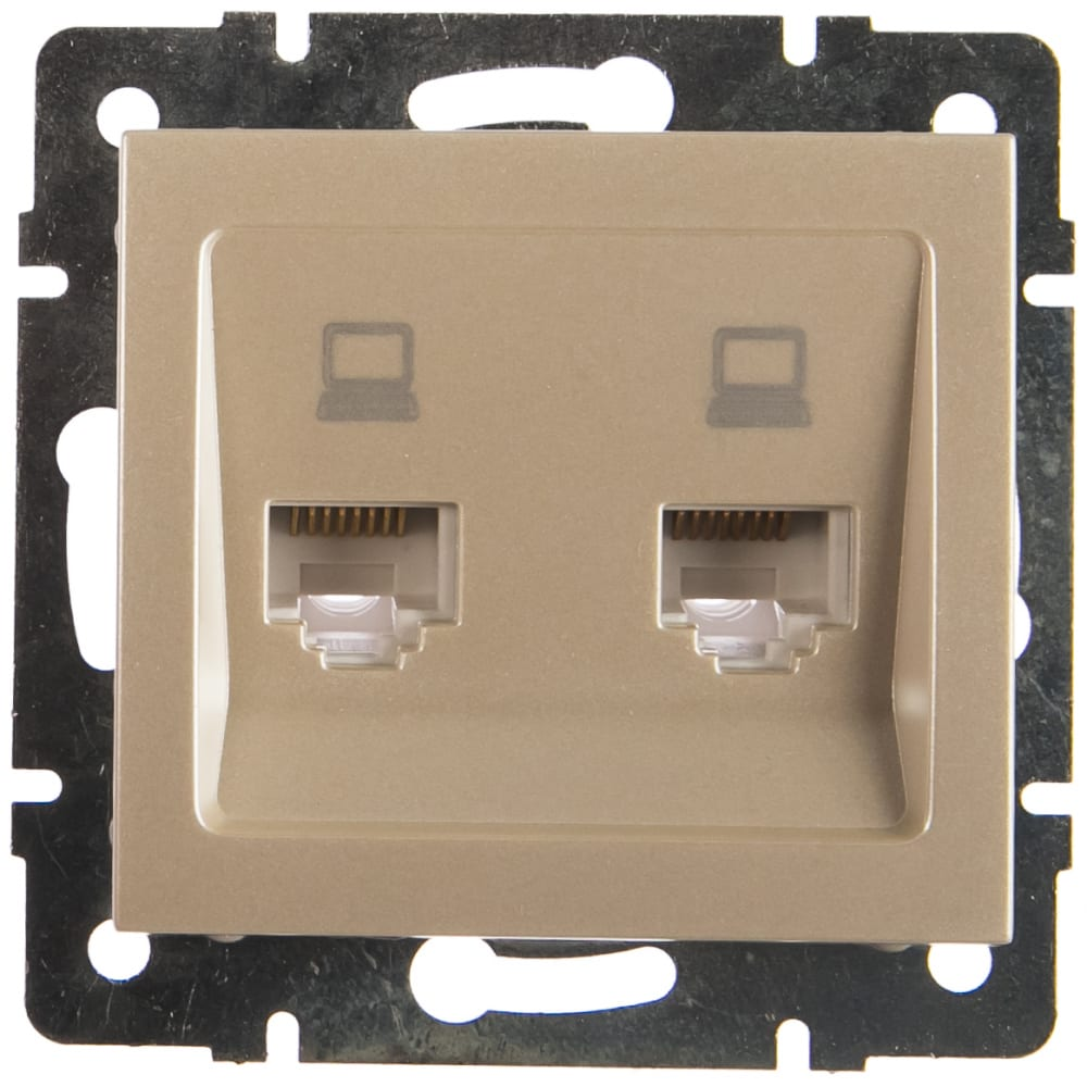 Двойная компьютерная розетка lezard rain жемчужно-белый перламутр 703-3088-141.