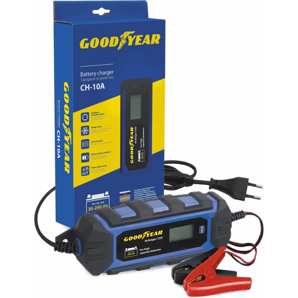 Электронное зарядное устройство для свинцово-кислотных аккумуляторов goodyear ch-10a gy003003