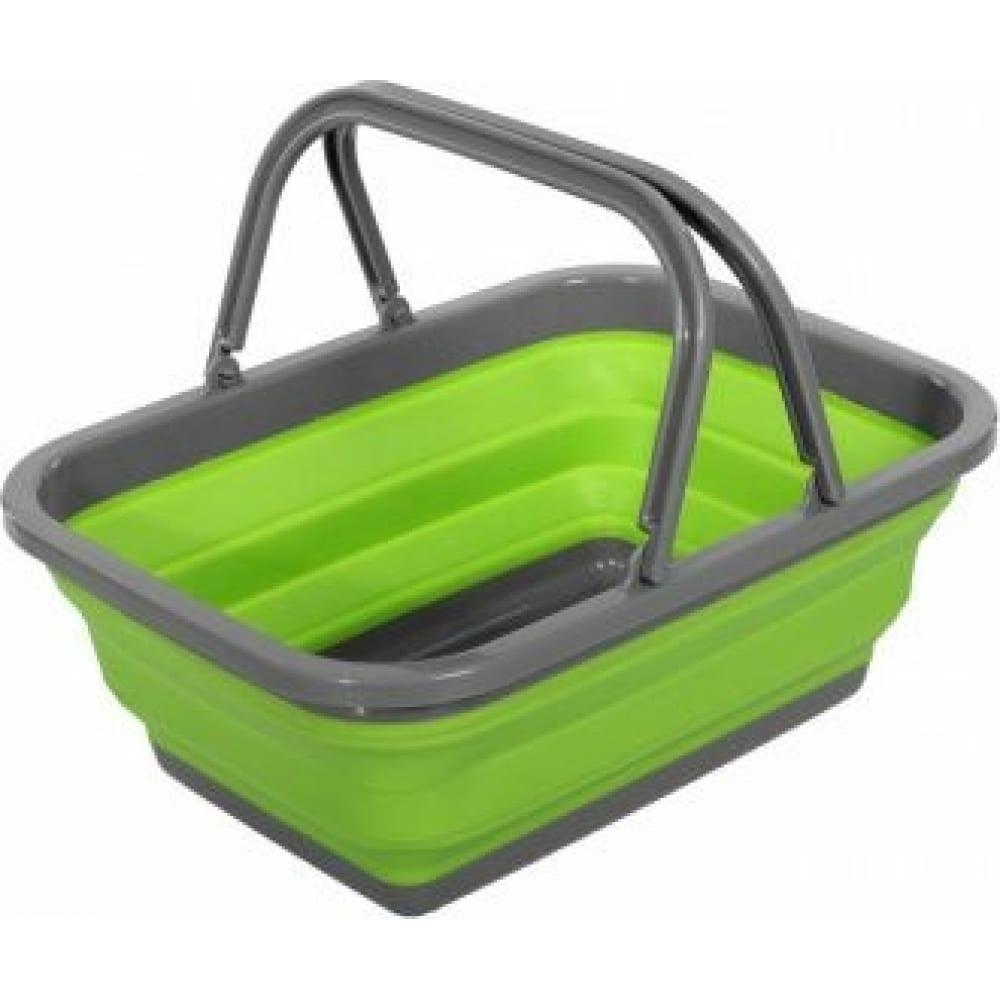 Купить Пластиковая складная корзина bradex с 2 ручками 9л, зеленая td 0532