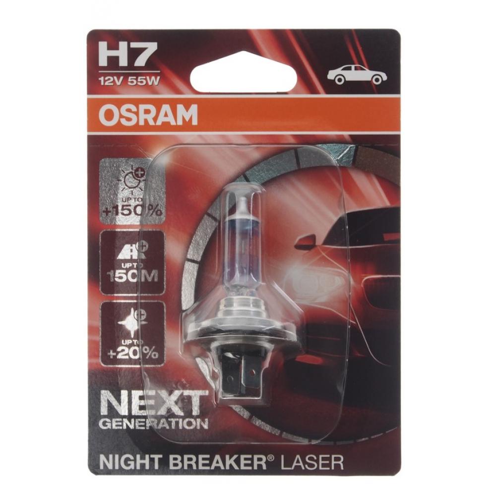 Купить Автолампа osram h7 55 px26d+150% night laser 3750k 12v, 1, 10 64210nl-01b