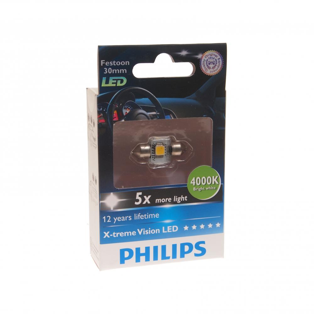 Автолампа philips c5w sv8.5,8, 30 мм