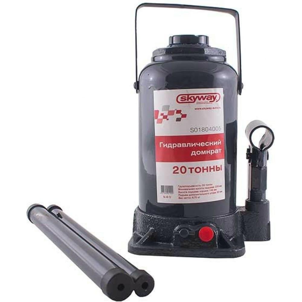 Купить Гидравлический бутылочный домкрат skyway 20т h 235-440 мм с клапаном в коробке+сумка s01804005