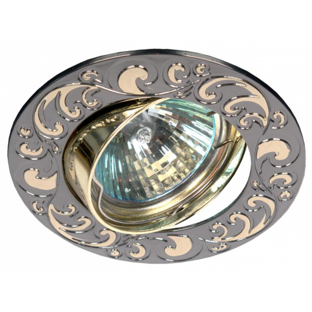 Купить Светильник эра kl26 а gu/g литой пов. лианы 1 mr16, 12v/220v, 50w черный металл/золото c0043722