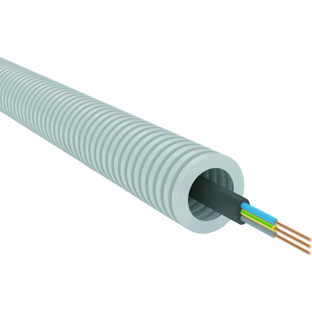 Гофрированная труба пвх партнер-электро серая 20мм. с кабелем ввг пнга-ls 3x25мм2 50м fp03l20vvgpngls3х25lgr50.
