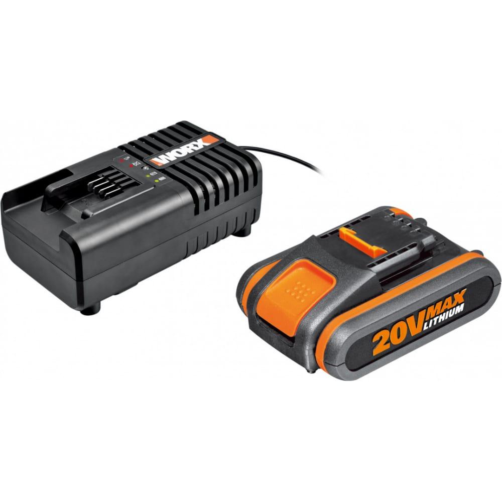 Набор 3601 аккумулятор 2 ач, зарядное устройство 2а worx wa3601