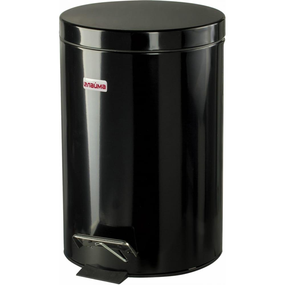 Ведро-контейнер для мусора с педалью лайма 12 л, черное 602850  - купить со скидкой