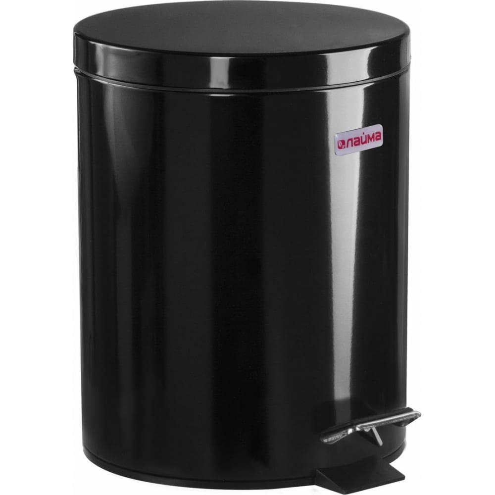 Ведро-контейнер для мусора с педалью лайма 5 л, черное 604943  - купить со скидкой