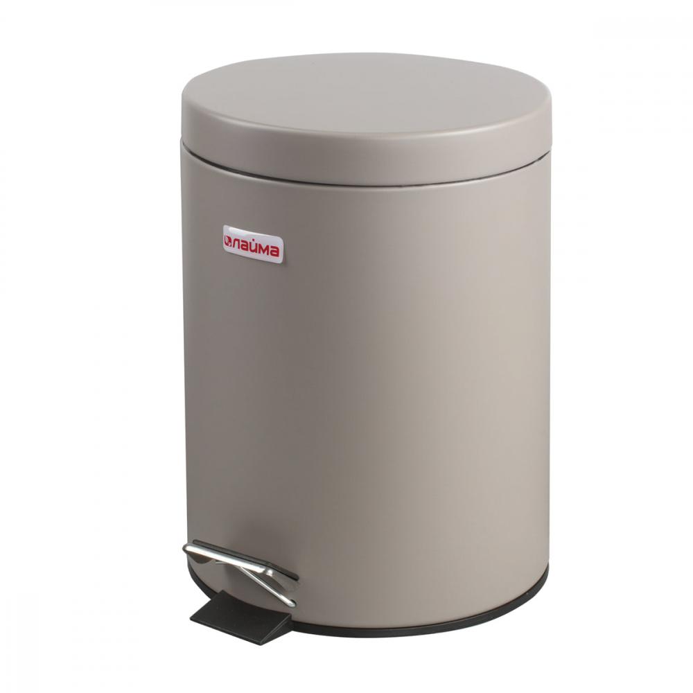 Купить Ведро-контейнер для мусора с педалью лайма 5 л, серое, матовое, металл 602849
