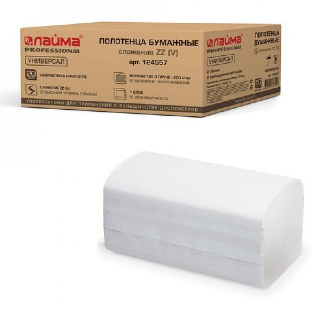 Купить Бумажные полотенца лайма 250 штук, комплект 20 штук, универсал, белые, 23х23, zz, 124557
