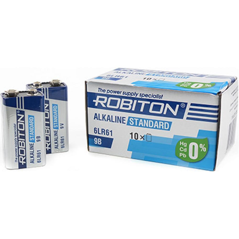 Купить Элемент питания robiton standard 6lr61 9v bulk10, в упаковке 10 шт 13986