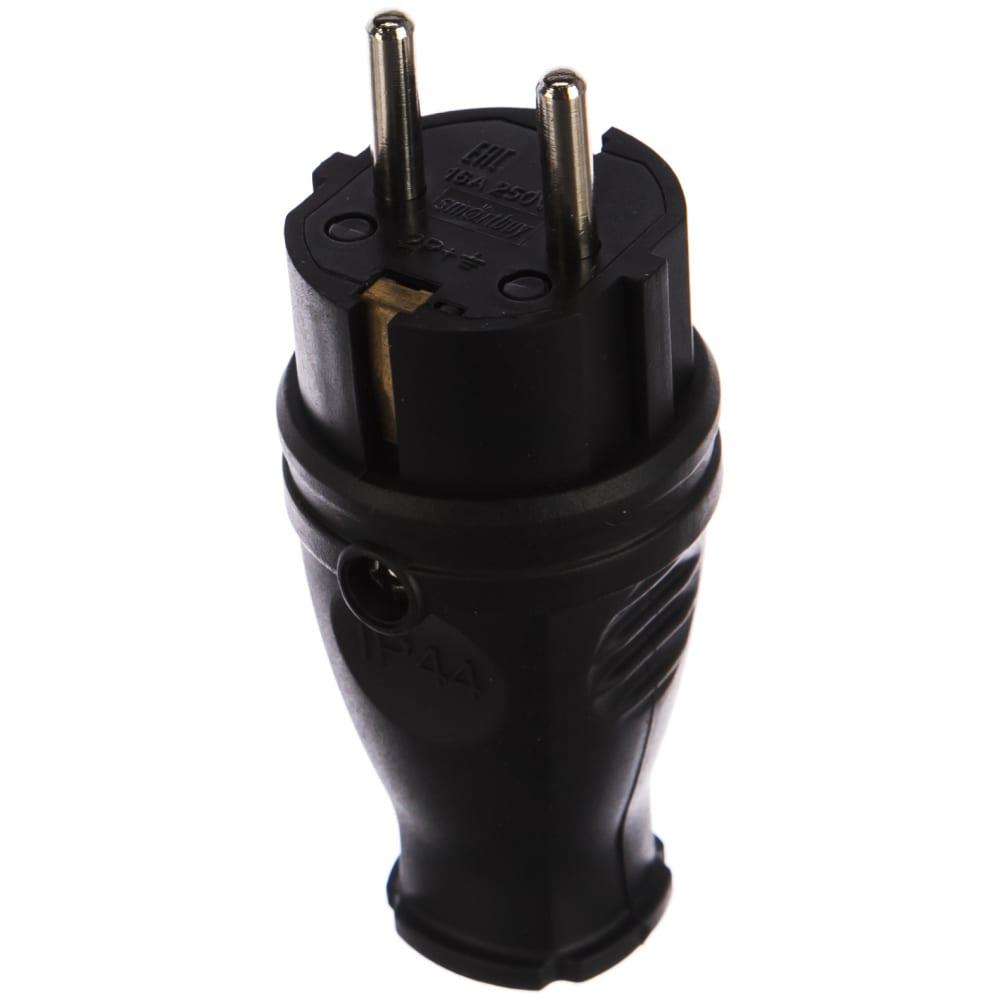 Прямая вилка smartbuy каучуковая 230в, 2p+pe, 16a, ip44 sbe-16-p07-r