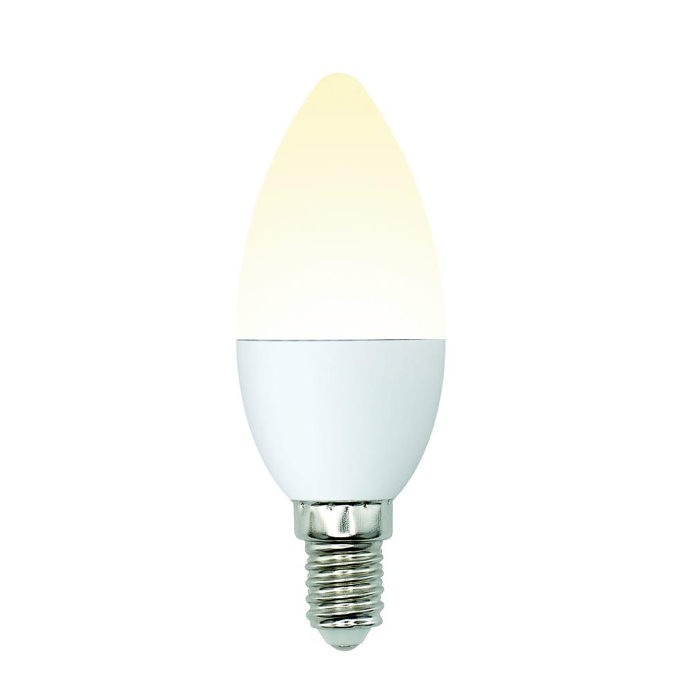 Светодиодная лампа uniel led-c37-6w/ww/e14/fr/mb plm11wh форма свеча, матовая ul-00002373