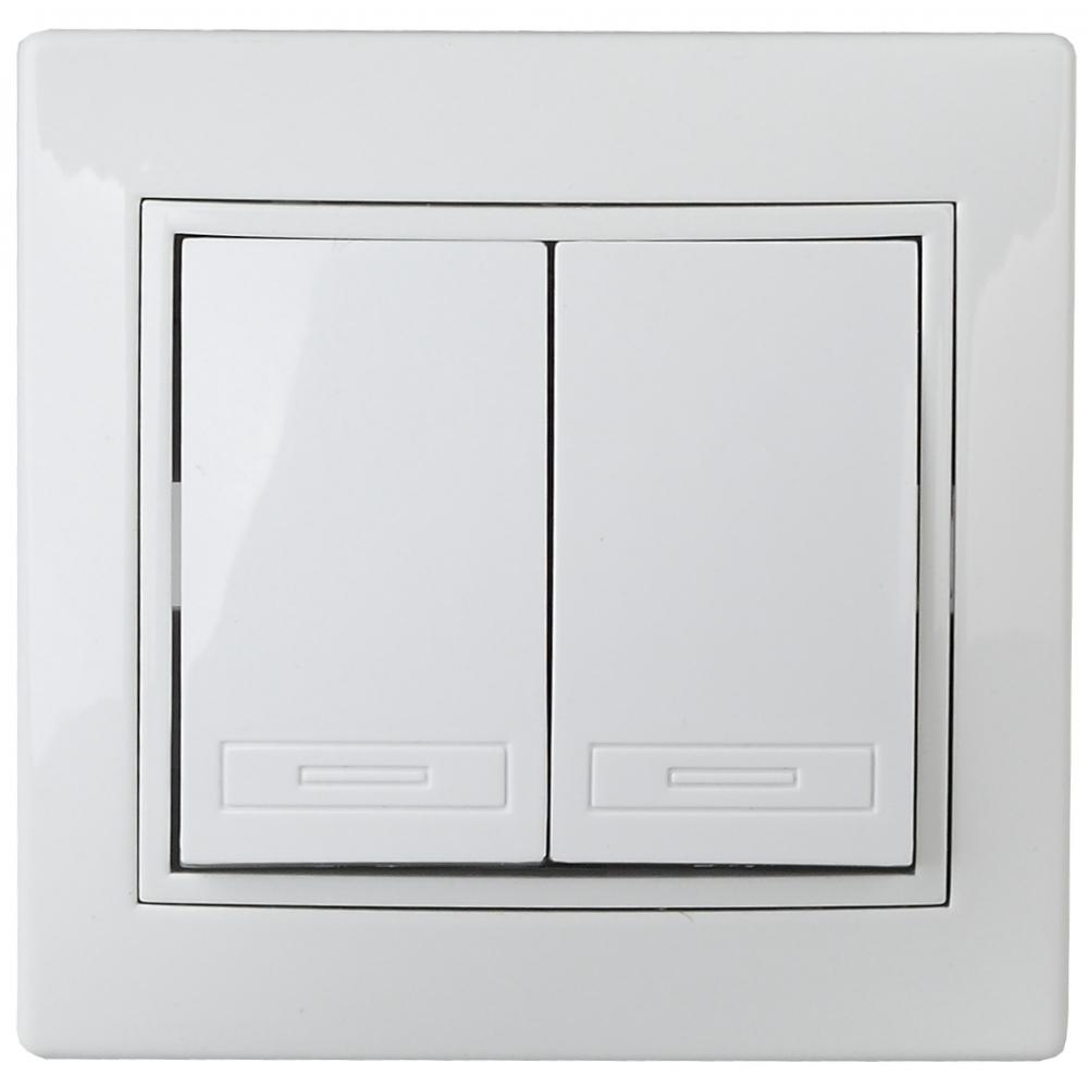 Купить Двойной выключатель intro 110401 10а, 250в, ip20, су, plano, белый б0027601