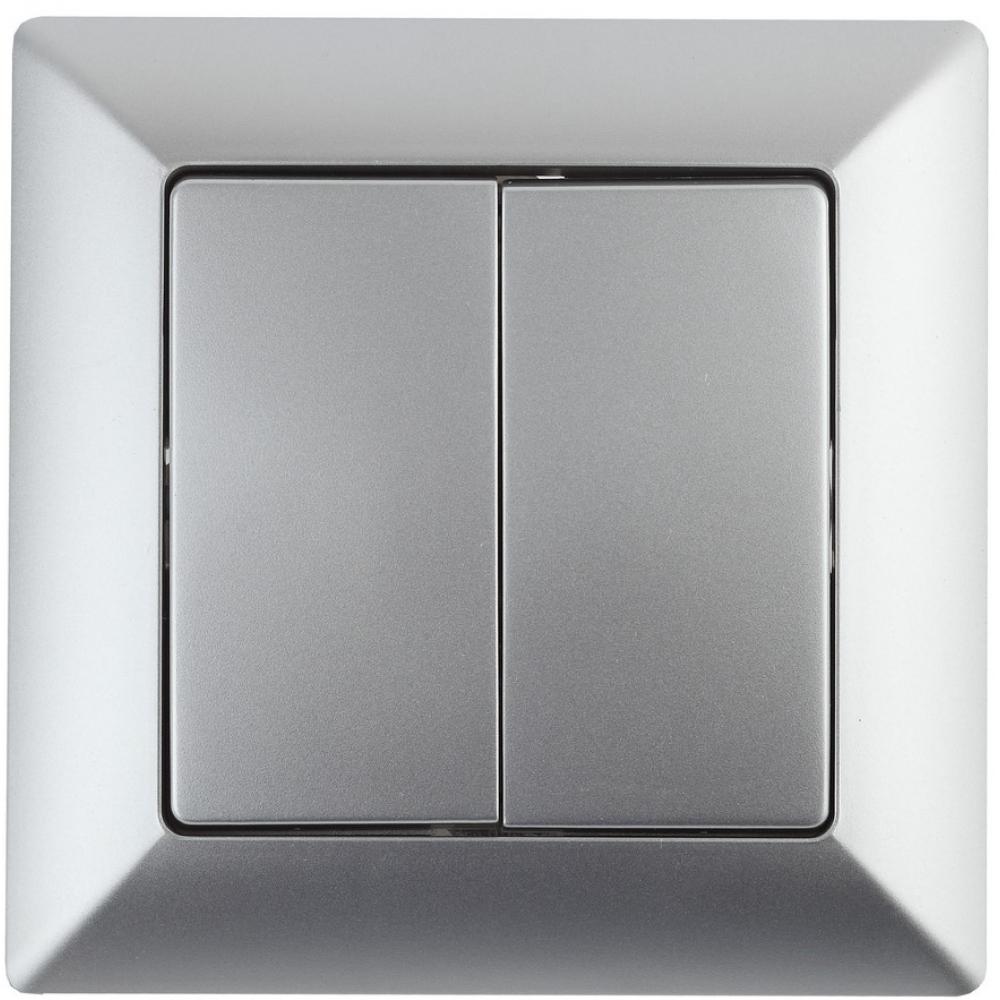 Купить Двойной выключатель intro 410403 10а, 250в, су, solo, алюминий б0043286