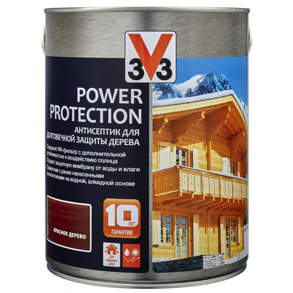 Купить Алкидный антисептик для дерева v33 power protection полуглянец, красное дерево 117396