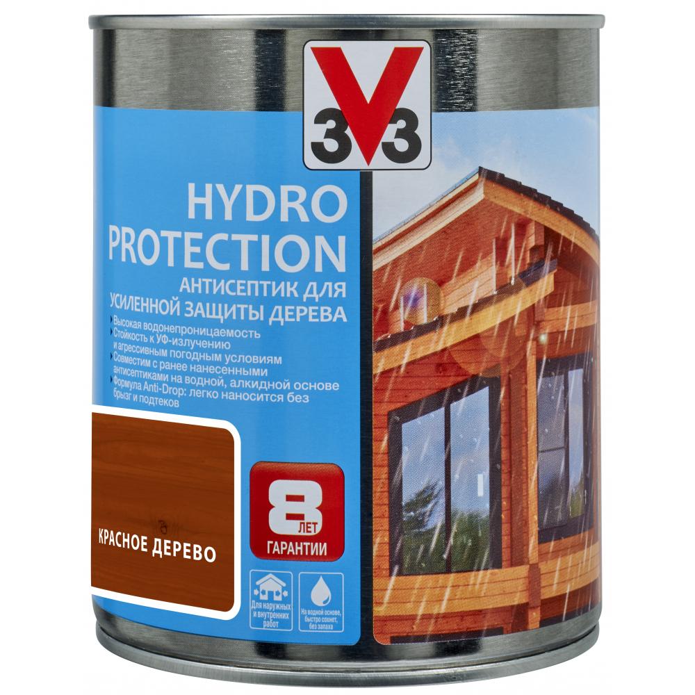 Купить Акриловый антисептик для дерева v33 hydro protection полуглянец, красное дерево 117408