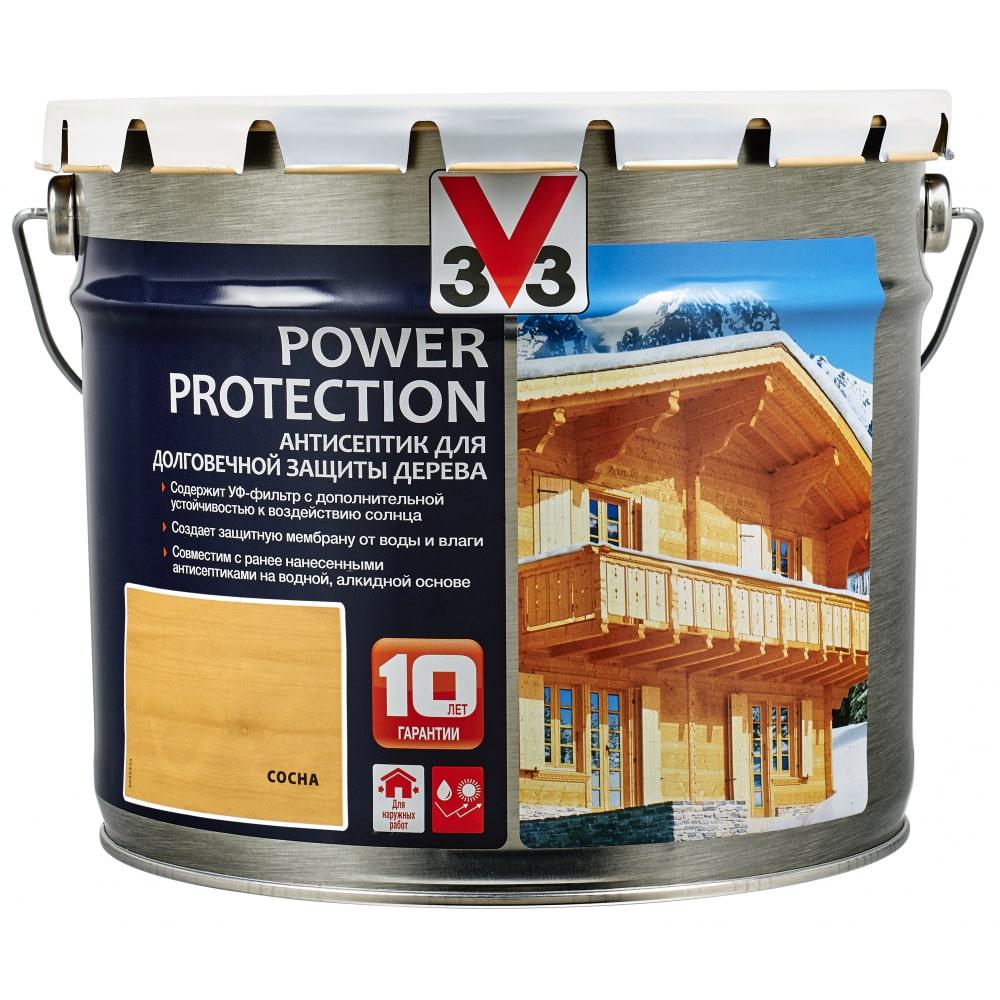 Купить Алкидный антисептик для дерева v33 power protection полуглянец, сосна 117399
