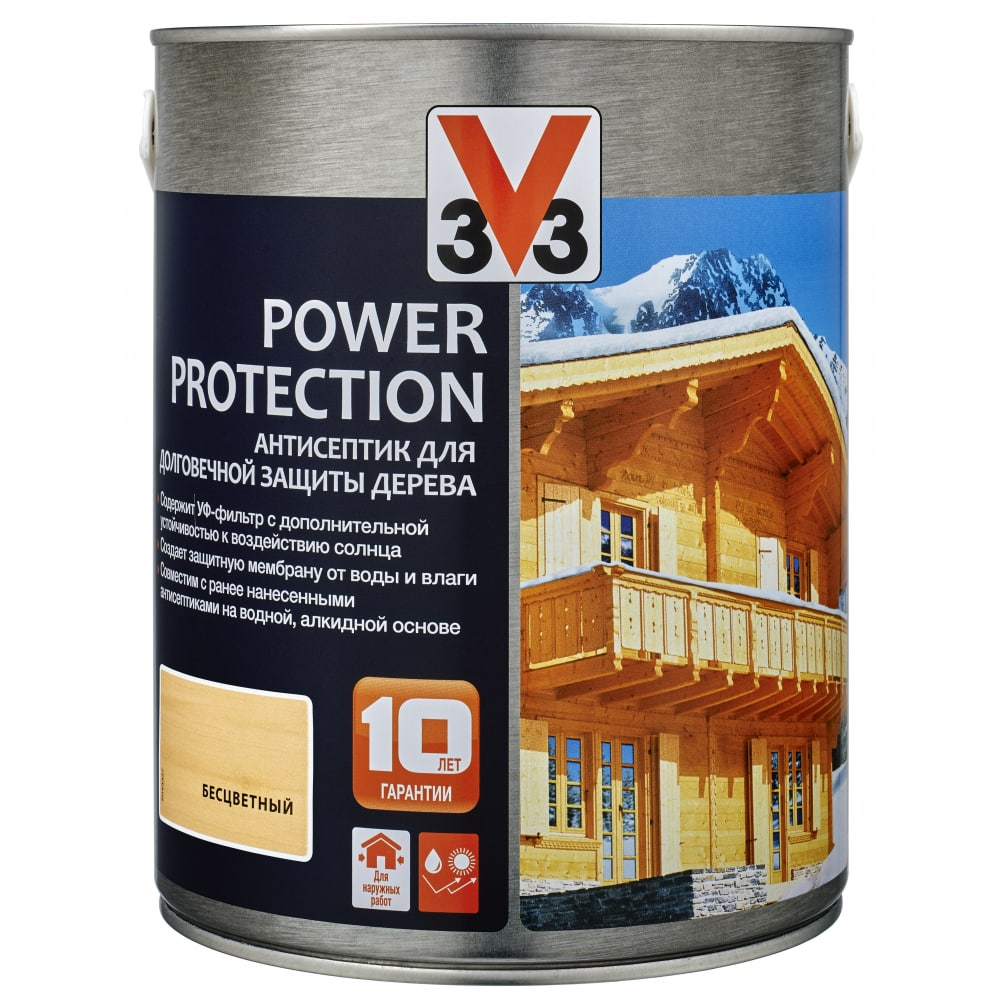 Купить Алкидный антисептик для дерева v33 power protection полуглянец, бесцветный 117392