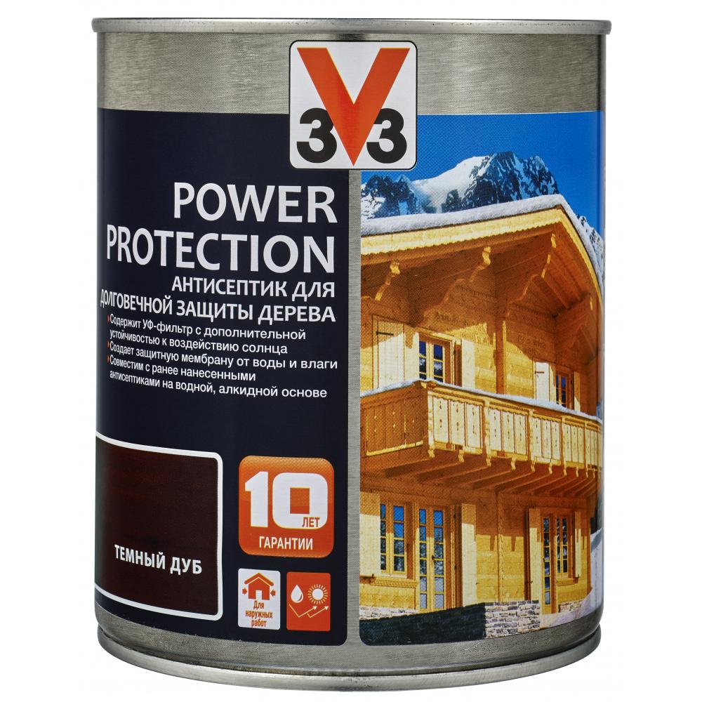 Купить Алкидный антисептик для дерева v33 power protection полуглянец, темный дуб 117388