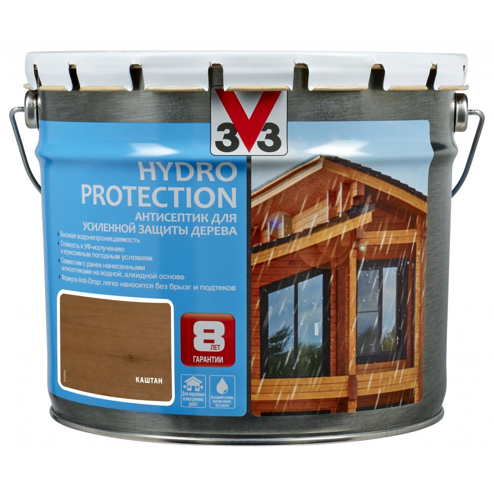 Купить Акриловый антисептик для дерева v33 hydro protection полуглянец, каштан 117419