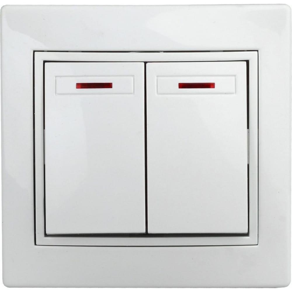 Двойной выключатель с подсветкой intro 1э10501 10а, 250в, су, б.л., plano б0038826  - купить со скидкой