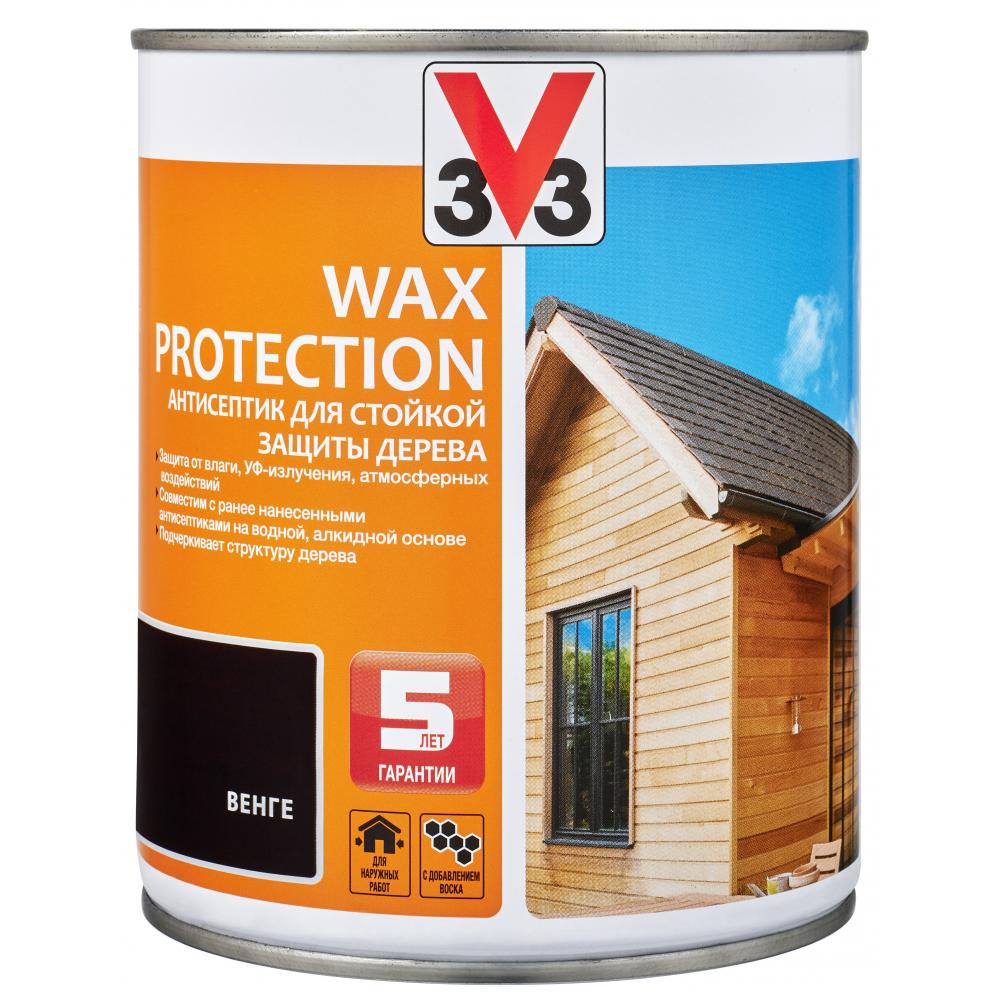 Купить Алкидный антисептик для дерева с добавлением воска v33 wax protection венге 117373