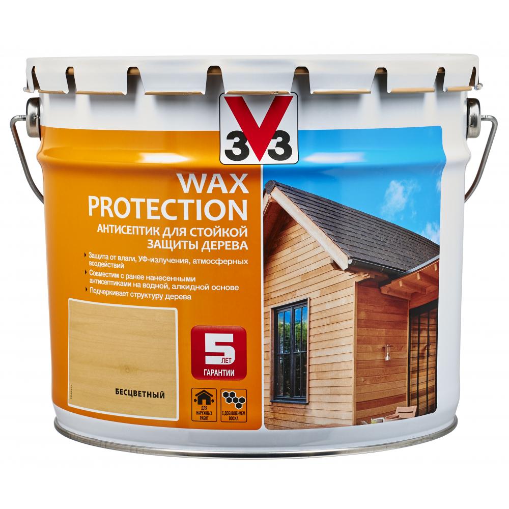 Купить Алкидный антисептик для дерева с добавлением воска v33 wax protection бесцветный 117380