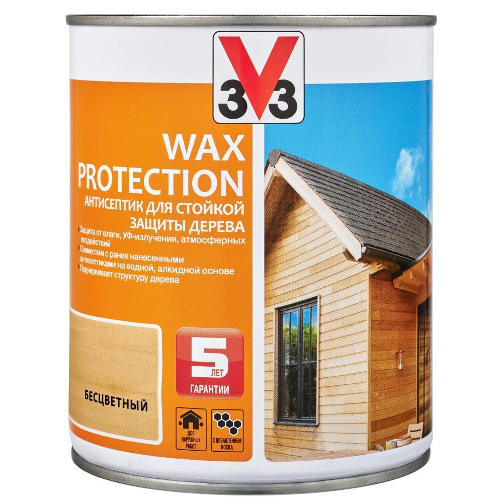 Купить Алкидный антисептик для дерева с добавлением воска v33 wax protection бесцветный 117368