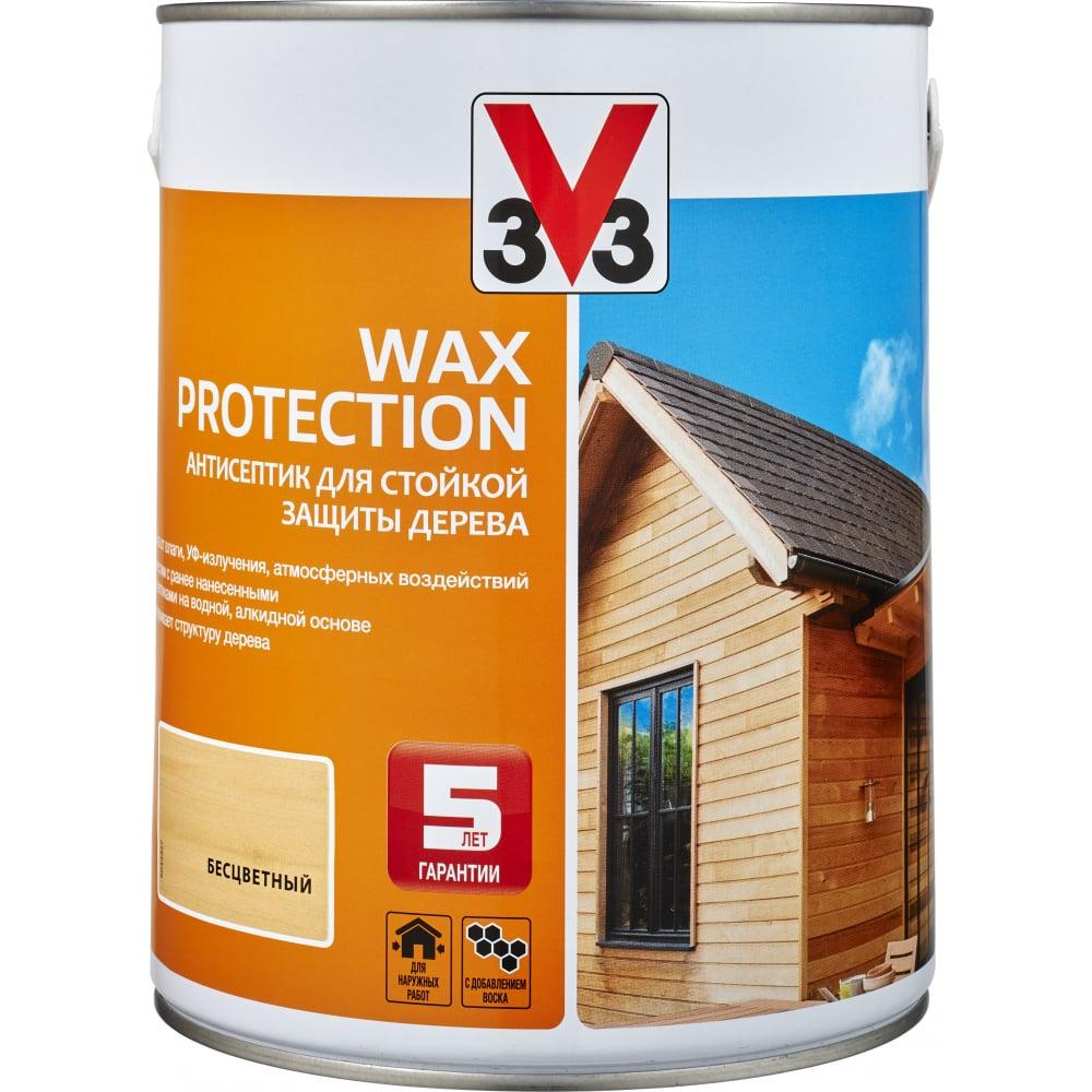 Купить Алкидный антисептик для дерева с добавлением воска v33 wax protection бесцветный 117374