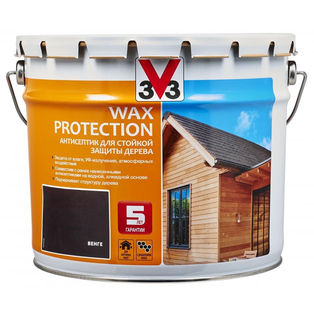 Купить Алкидный антисептик для дерева с добавлением воска v33 wax protection венге 117385