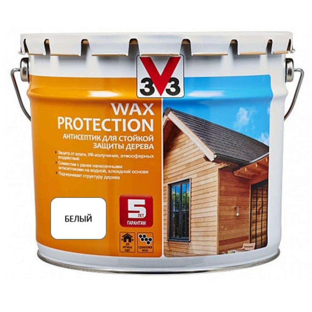 Купить Алкидный антисептик для дерева с добавлением воска v33 wax protection белый 119612