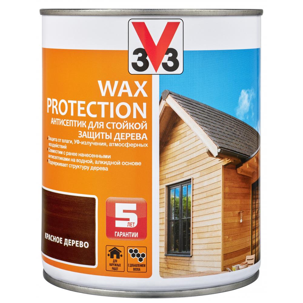 Купить Алкидный антисептик для дерева с добавлением воска v33 wax protection красное дерево 117372