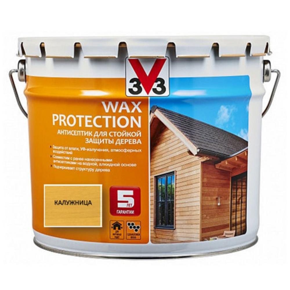 Купить Алкидный антисептик для дерева с добавлением воска v33 wax protection калужница 119613