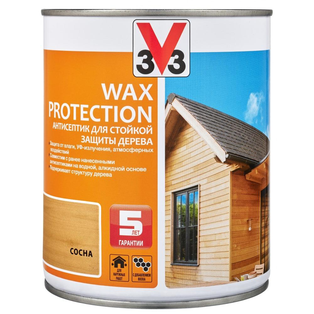 Купить Алкидный антисептик для дерева с добавлением воска v33 wax protection полуглянец, сосна 117369