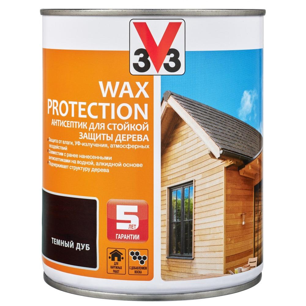 Купить Алкидный антисептик для дерева с добавлением воска v33 wax protection темный дуб 117370