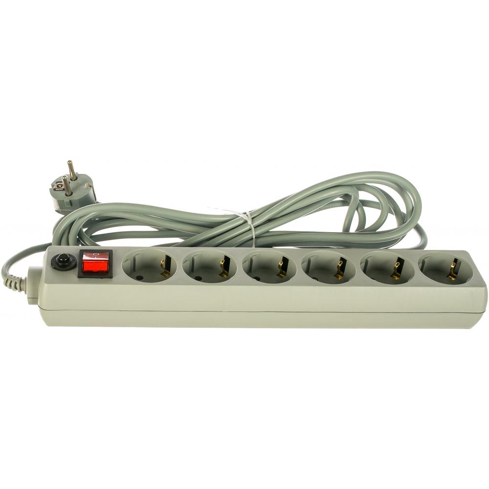 Купить Сетевой фильтр perfeo power+ 5, 0м 6 розеток серый 30012506
