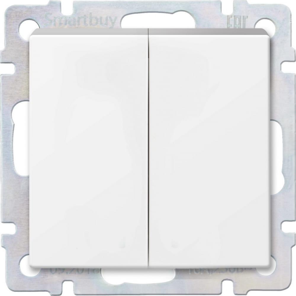 Купить Выключатель smartbuy 2-клавишный 10а белый нептун sbe-05w-10-sw2-0