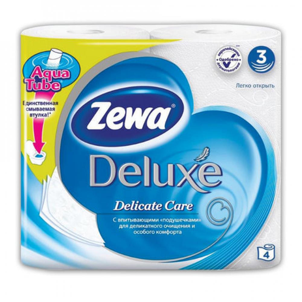 Купить Бумага туалетная бытовая zewa delux спайка 4 шт, 3-х слойная, белая 3228 126248