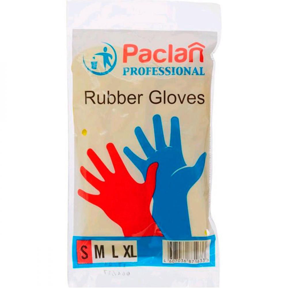 Купить Хозяйственные перчатки paclan professional латекс, х/б напыление, размер s, желтые 602488