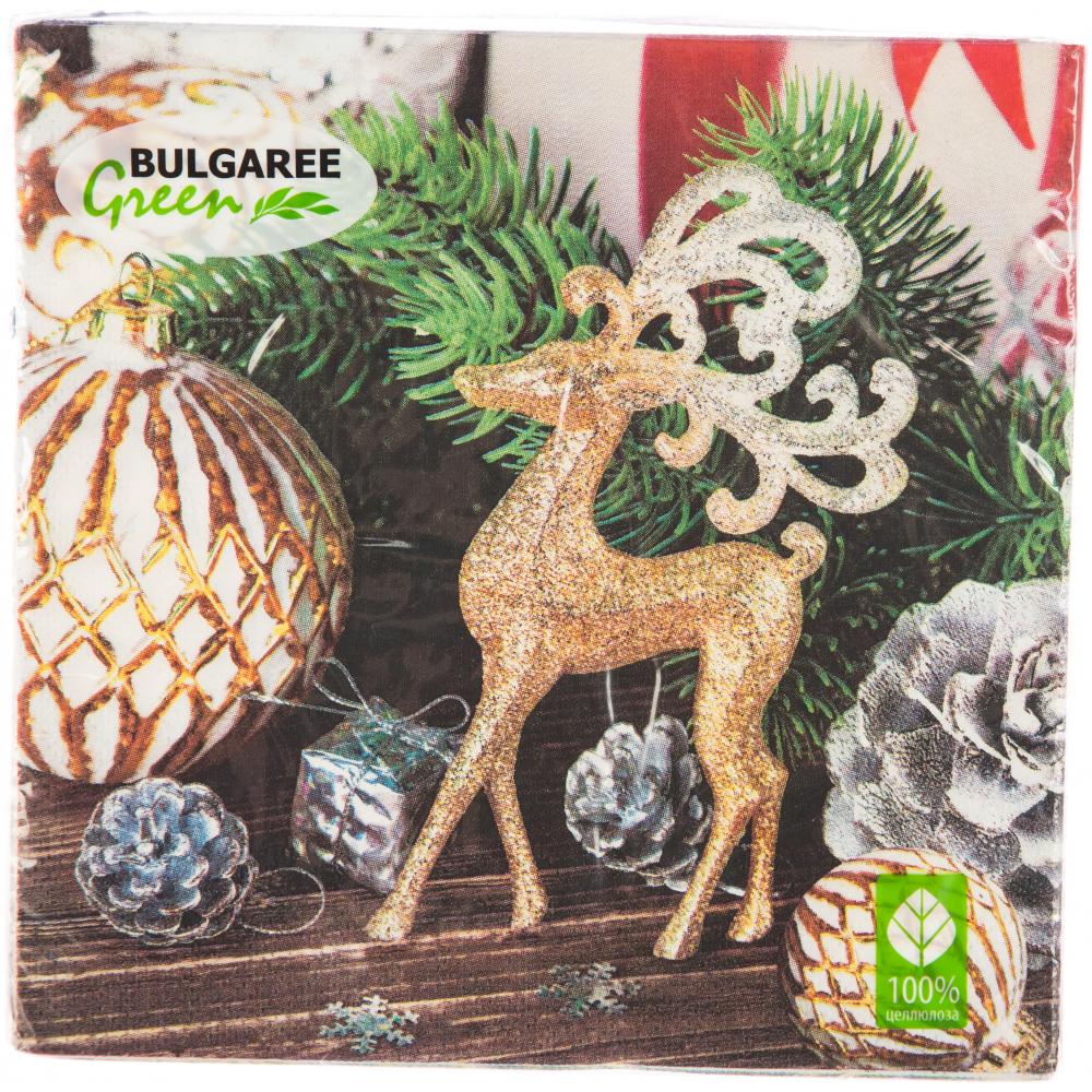 Купить Салфетки bulgaree green бг трехсл. 33х33 олень с игрушками мдк-90005901