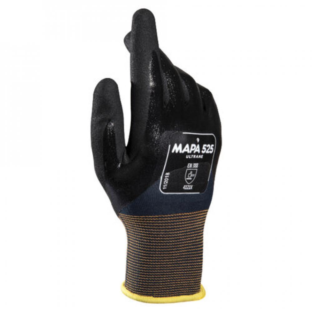 Купить Маслостойкие перчатки mapa ultrane 525, нитриловое покрытие, размер 8, черные 606289