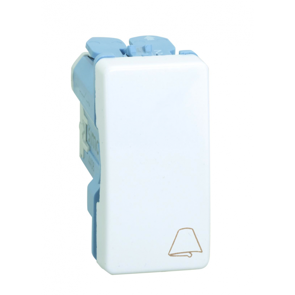 Одноклавишный кнопочный выключатель с пиктограммой звонок simon 10а, 250в, s27, белый 27150-64