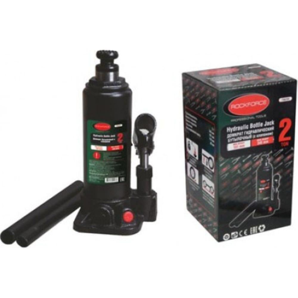 Купить Домкрат rockforce гидравлический бутылочный с клапаном 2т высподъема 181-345мм rf-t90204