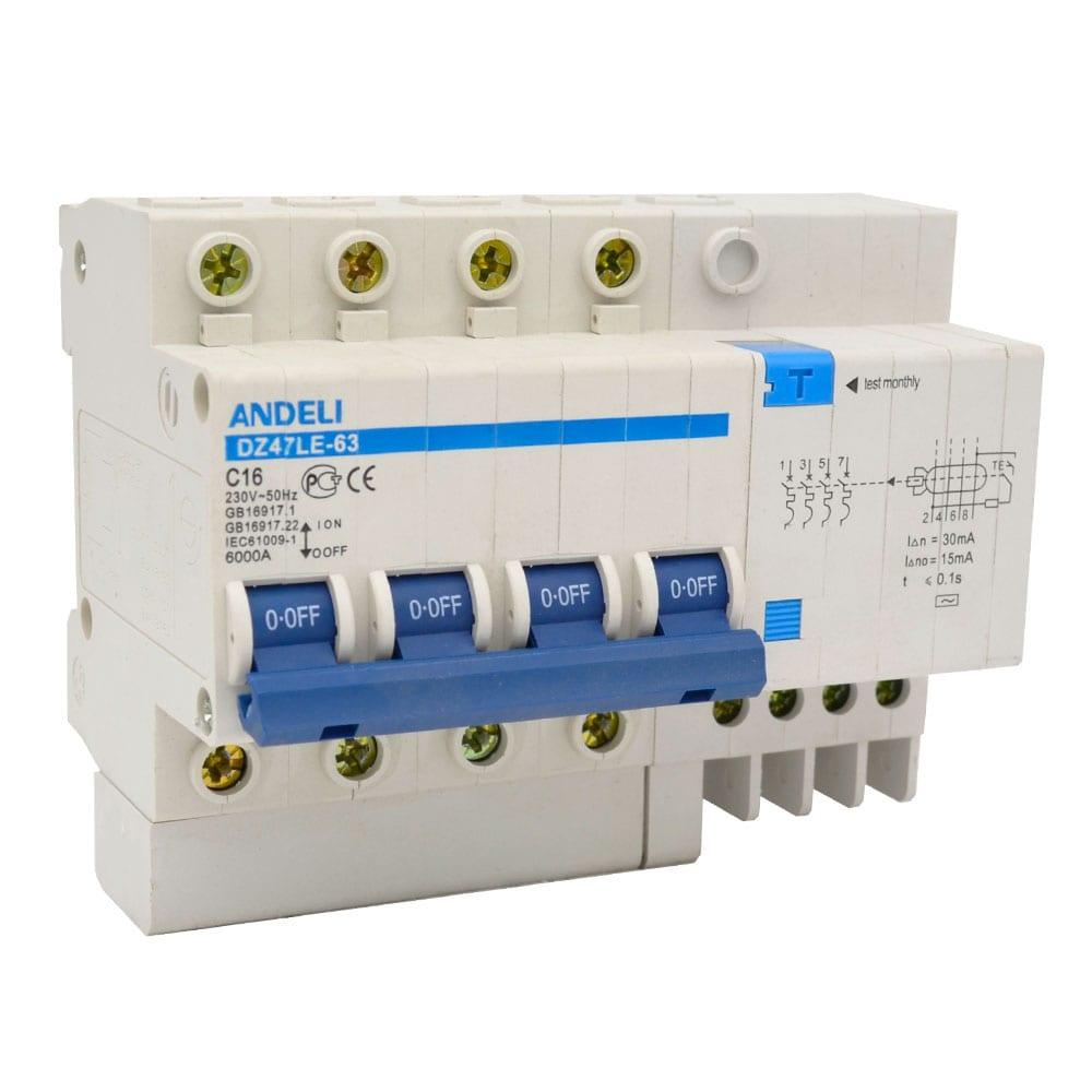 Дифференциальный автомат andeli dz47le-63 4p 16a 30ma тип ac х-ка с adl02-010