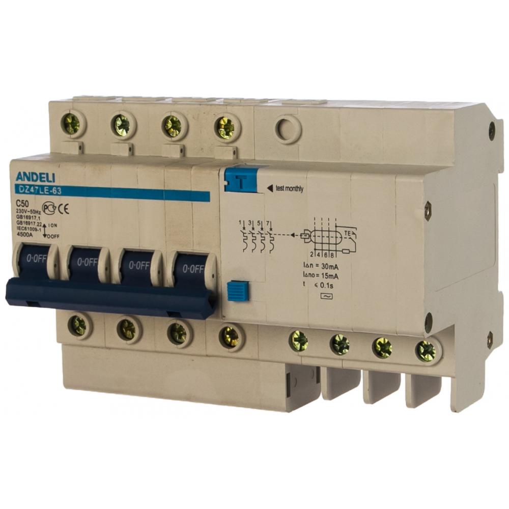 Дифференциальный автомат andeli dz47le-63 4p 50a 30ma тип ac х-ка с adl02-015