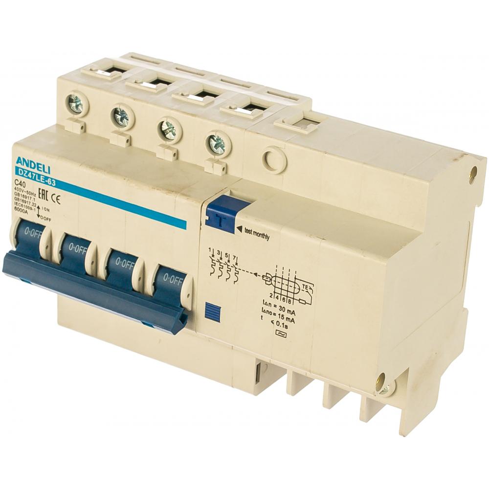 Дифференциальный автомат andeli dz47le-63 4p 40a 30ma тип ac х-ка с adl02-014