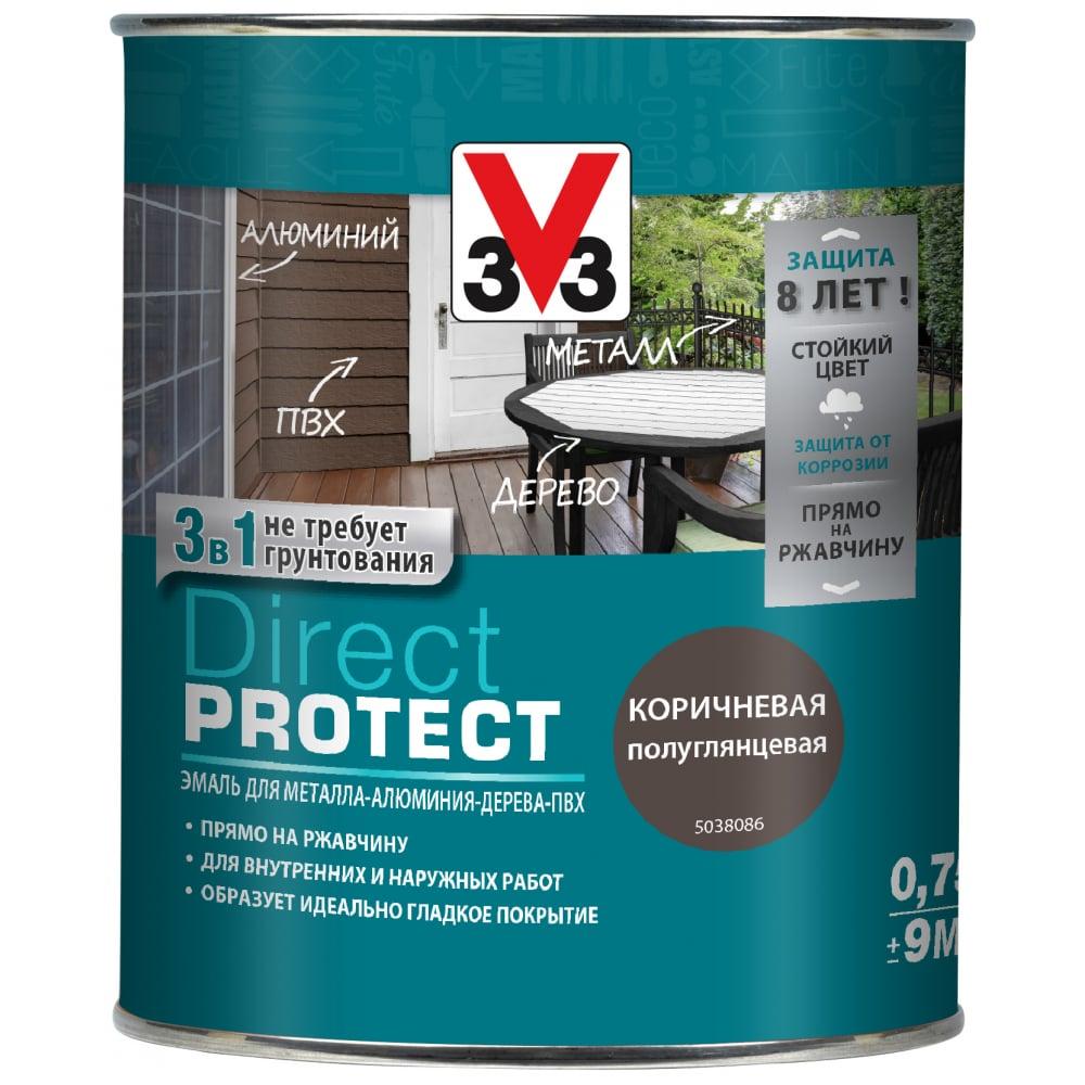 Купить Эмаль v33 direct protect коричневая, 113877