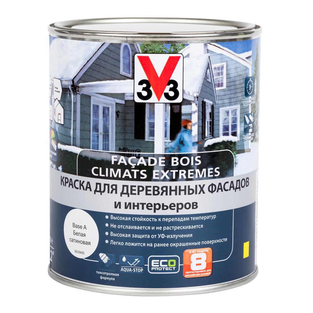 Купить Краска для деревянных фасадов и интерьеров v33 climats extremes полуглянцевая база а 110366