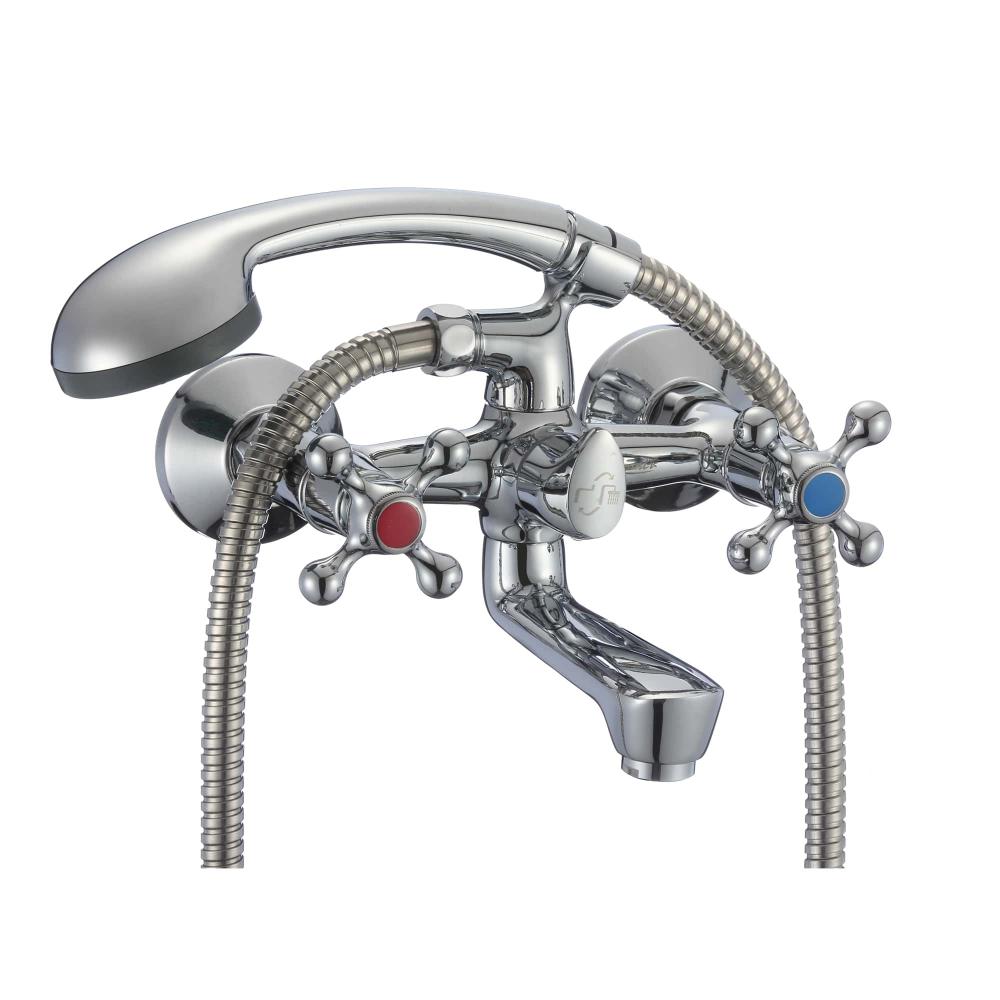 Купить Ванно-душевой двуручный смеситель eleanti со шлангом, хромированной лейкой и кронштейном 0402.896